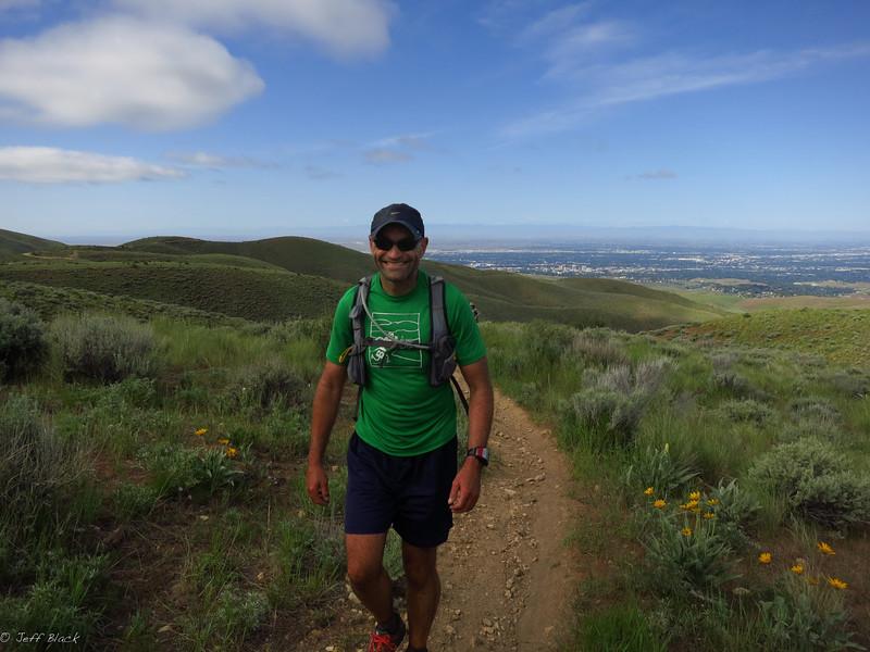 Brent still smiling and running.