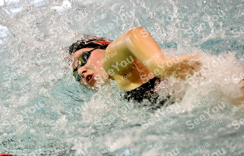 Messenger photo by Britt Kudla<br /> Olivia Anderson of Fort Dodge compete in girls 50 Yard Freestyle during Gary Winkler Invitational on Saturday inside Dodgers pool