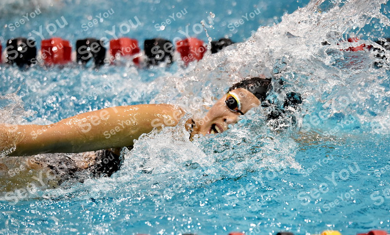 -Messenger photo by Britt Kudla<br /> Launne Xiao of Fort Dodge compete in the 200 Yard Freestyle Relay during Dodges Invitational on Saturday