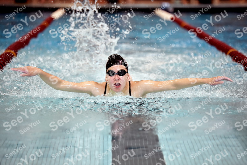 -Messenger photo by Britt Kudla<br /> Shanna Thul of Fort Dodge compete in girls 100 yard Butterfly during Gary Winkler Invitational on Saturday