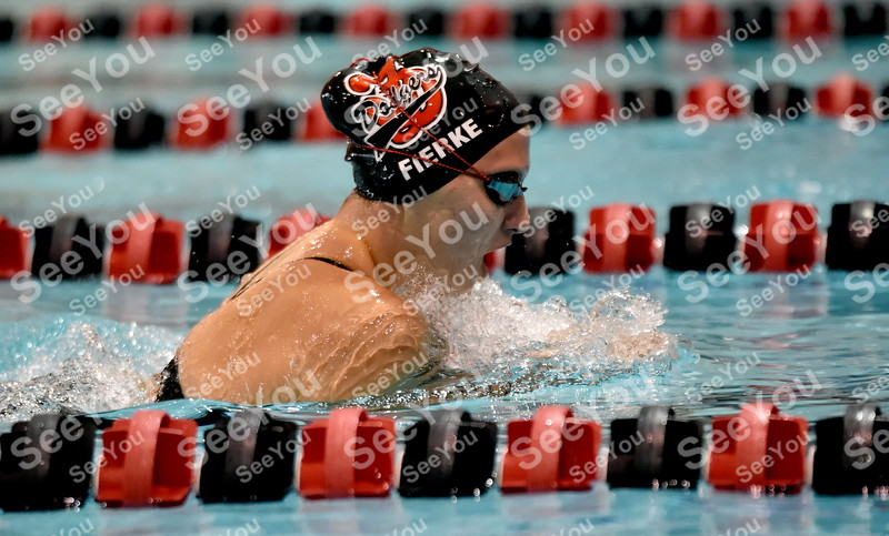 -Messenger photo by Britt Kudla<br /> Elora Fierke of Fort Dodge compete in Girls 200 Yard IM during Dodgers Invitational on Saturday