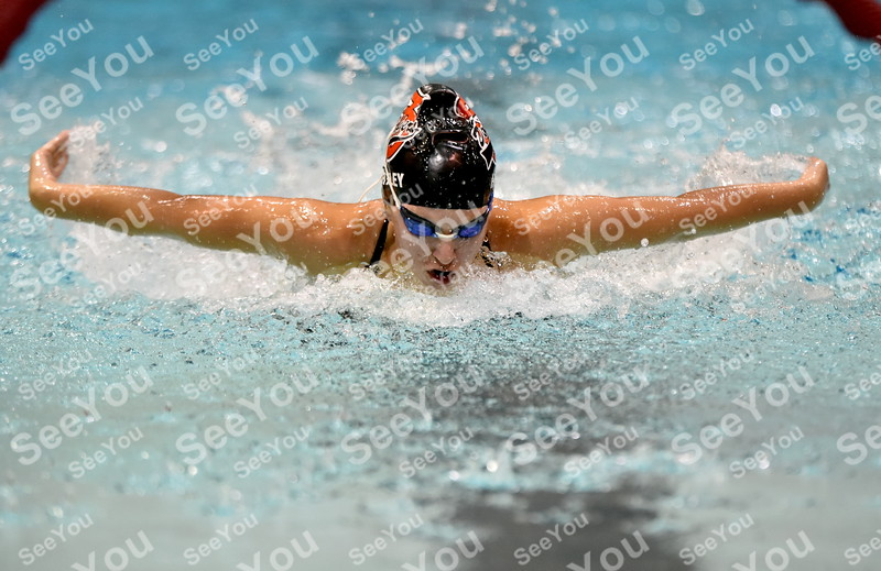 -Messenger photo by Britt Kudla<br /> Grace Hartley of Fort Dodge compete during the girls 200 Yard IM against Ames on Tuesday