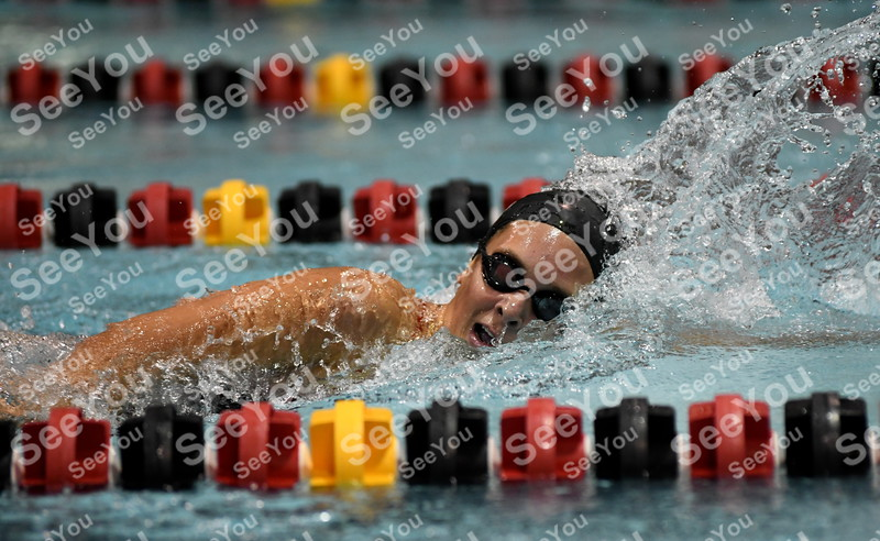 -Messenger photo by Britt Kudla<br /> Madigan Peimann of Fort Dodge compete during 200 yard freestyle against Marshalltown on Tuesday