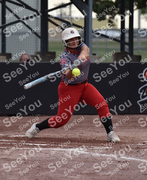 -Messenger photo by Britt Kudla<br /> Loghen Schnetzer of Fort Dodge hits a home run against Ballard during Dodgers Invitational on Friday at Rogers Park