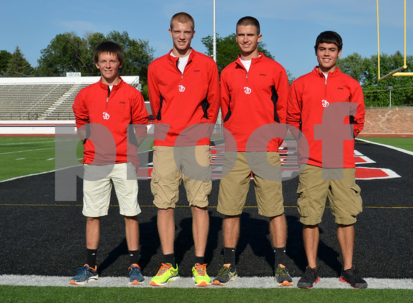 -Messenger photo by Britt Kudla<br /> Fort Dodge Boys Cross Country Returning Letterwinners are, left to right, Justin Vaughan, Brady Read, Ryan Wagner, and Dalton Niemeyer
