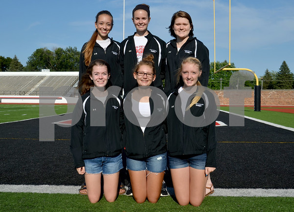 -Messenger photo by Britt Kudla<br /> Fort Dodge Girls Cross Country Returning Letterwinners are left to right, front row: Anna Taylor, Brandi Smith, and Dakota Ganzeueld<br /> Back Row: Gabby Estlund, Katarina Olson, and Megan Nebel
