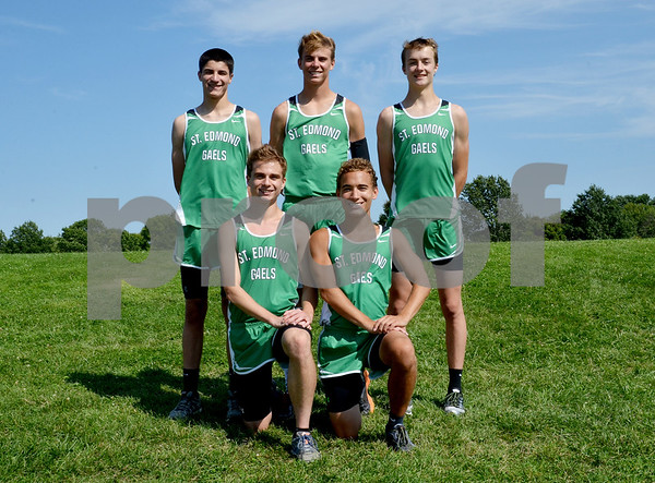 -Messenger photo by Britt Kudla<br /> St. Edmond's Boys Cross Country Returning Letterwinners, are left to right, Front Row: Alex Coerts and Devin Camamo<br /> Back Row: Nick Lenane, Harrison Mayer, and Colin Flattery