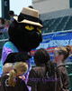 Cats Mascot Dodger, has fun with some young fans.