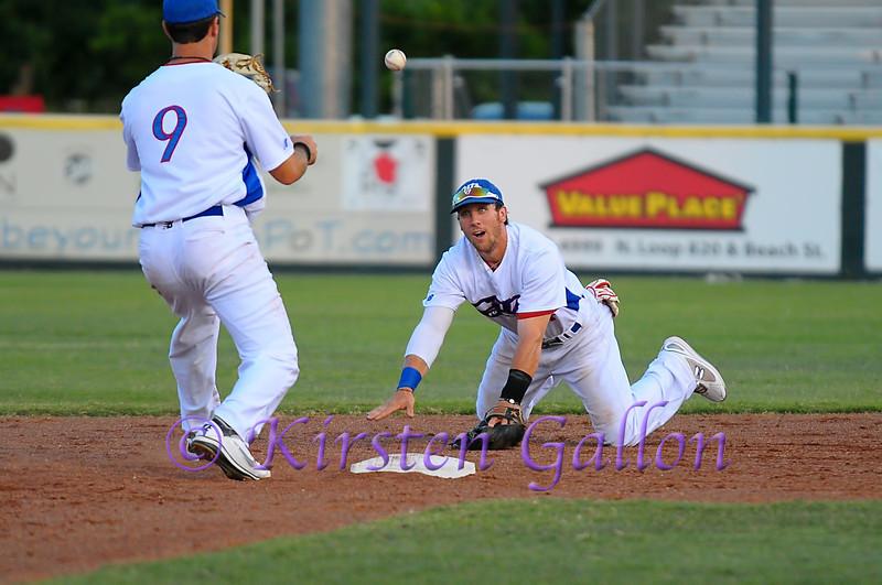 #14 Jon Dziomba flips the ball to shortstop Shelby Ford.