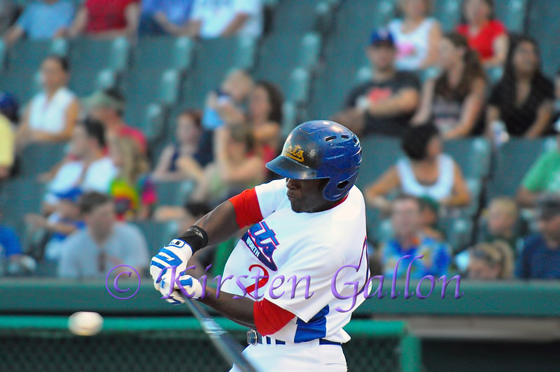 R.J Harris swinging to make contact and comes up with a nice single to keep the bats going.