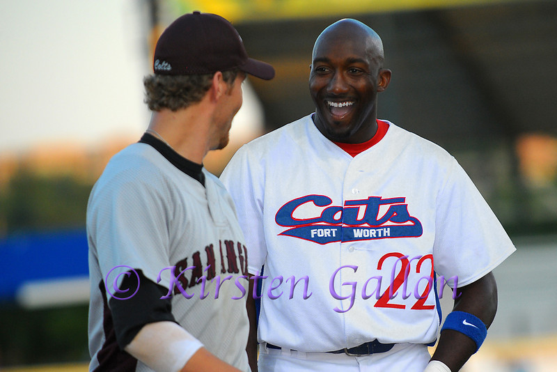 Brandon Jones shares a laugh with the San Angelo 3rd baseman.