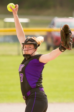 Record-Eagle/Brett A. Sommers Frankfort's Olivia Tomaszewski wings up for a pitch during Tuesday's softball doubleheader against Kingsley. Frankfort won the first game 9-0, and Kingsley won the second 10-4.