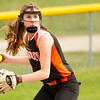 Record-Eagle/Brett A. Sommers Kingsley's Haven Robinson readies to throw from third base during Tuesday's softball doubleheader against Frankfort. Frankfort won the first game 9-0, and Kingsley won the second 10-4.