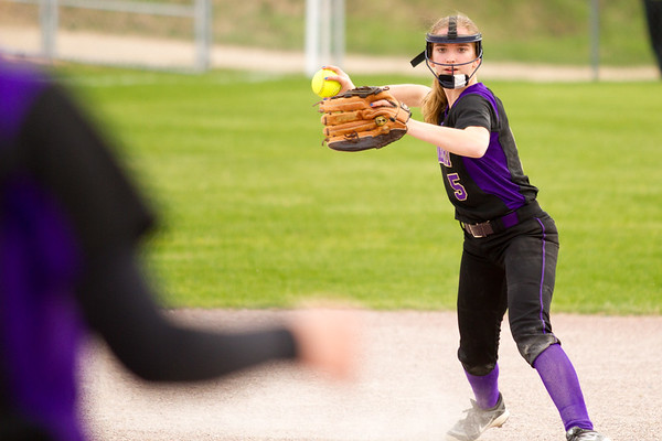 Record-Eagle/Brett A. Sommers Frankfort's Haley Myers throws from short during Tuesday's softball doubleheader against Kingsley. Frankfort won the first game 9-0, and Kingsley won the second 10-4.