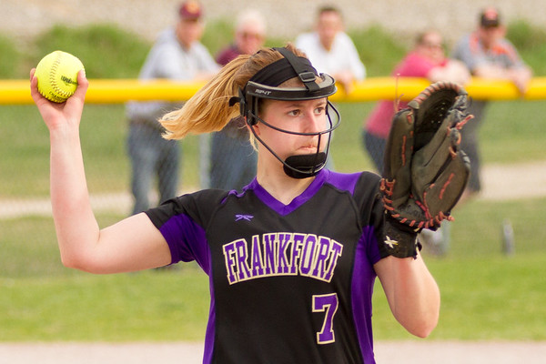 Record-Eagle/Brett A. Sommers Frankfort's Olivia Tomaszewski throws to first base during Tuesday's softball doubleheader against Kingsley. Frankfort won the first game 9-0, and Kingsley won the second 10-4.