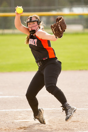 Record-Eagle/Brett A. Sommers Kingsley's McKenna Musser winds up to pitch during Tuesday's softball doubleheader against Frankfort. Frankfort won the first game 9-0, and Kingsley won the second 10-4.