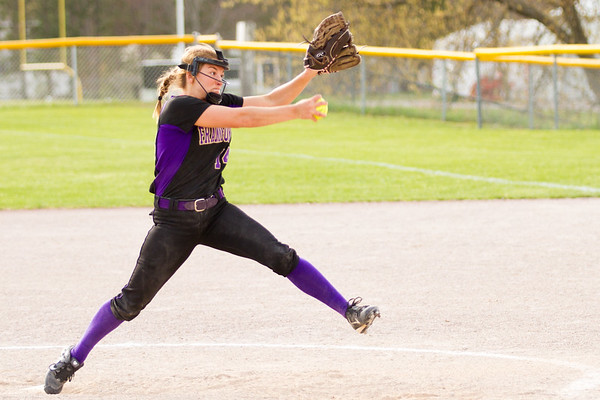 Record-Eagle/Brett A. Sommers Frankfort's Natalie Bigley winds up to pitch during Tuesday's softball doubleheader against Kingsley. Frankfort won the first game 9-0, and Kingsley won the second 10-4.
