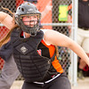 Record-Eagle/Brett A. Sommers Kingsley catcher Alison Folkersma throws from home plate during Tuesday's softball doubleheader against Frankfort. Frankfort won the first game 9-0, and Kingsley won the second 10-4.