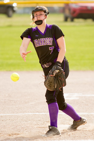 Record-Eagle/Brett A. Sommers Frankfort's Olivia Tomaszewski releases a pitch during Tuesday's softball doubleheader against Kingsley. Frankfort won the first game 9-0, and Kingsley won the second 10-4.