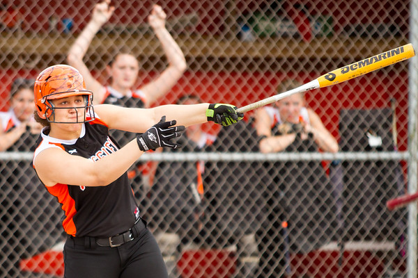 Record-Eagle/Brett A. Sommers Kingsley's Jalynn Brumfield swings at a pitch during Tuesday's softball doubleheader against Frankfort. Frankfort won the first game 9-0, and Kingsley won the second 10-4.