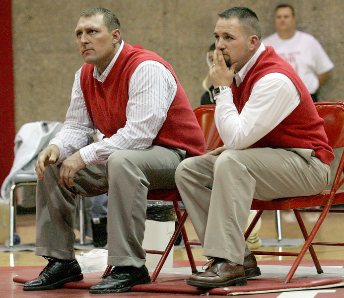 E.L. Hubbard for the DDN<br /> Franklin coaches Ricky Sizemore and John Berry watch their wrestlers during the 2008 nGrudge Match with Franklin at Carlisle High School Wednesday, December 10, 2008.