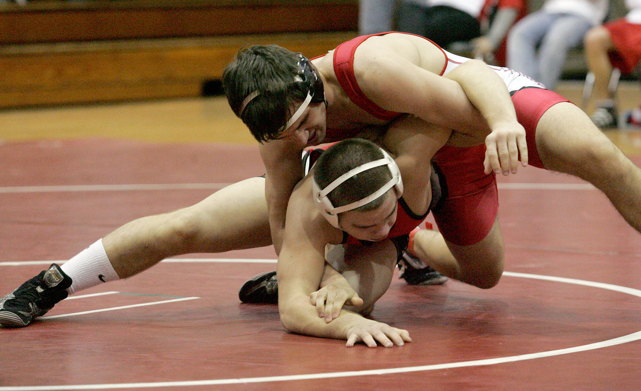 E.L. Hubbard for the DDN<br /> Carlisle's Christian McLaughlin wrestles Franklin's Anthony Kitchen during the 2008 Grudge Match at Carlisle High School Wednesday, December 10, 2008. McLaughlin won by decision.