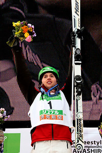 Référence : in09-dmom-01-0890 Theme  : FREESTYLE Style : PODUIM People : MEN Discipline : DUAL MOGULS Racer's name : BILODEAU Alexandre Nationality : CAN Place : INAWASHIRO (JPN) 2009 Event : FIS WORLD CHAMPIONSHIPS Copyright : AGENCE ZOOM