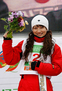 INAWASHIRO, JAPAN Ð MARCH 04 : (FRANCE OUT) Nina Li of China takes the 1st place during the FIS Freestyle World Championships Ð WomenÕs Aerials event on March 04, 2009 in Inawashiro, Japan (Photo by Agence Zoom/Getty Images).