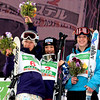 Référence : in09-dmow-01-0624<br /> Theme  : FREESTYLE<br /> Style : PODUIM<br /> People : WOMEN<br /> Discipline : DUAL MOGULS<br /> Racer's name : ITO Miki,UEMURA Aiko,KEARNEY Hannah<br /> Nationality : JPN,USA<br /> Place : INAWASHIRO (JPN) 2009<br /> Event : FIS WORLD CHAMPIONSHIPS<br /> Copyright : AGENCE ZOOM