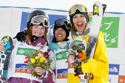 INAWASHIRO, JAPAN Ð MARCH 05 : (FRANCE OUT) Virginie Faivre of Switerland takes the 1st place ,Megan Gunning of Canada takes the 2nd place,Jennifer Hudak of United States takes the 3rd place during the FIS Freestyle World Championships Ð WomenÕs Halfpipe event on March 05, 2009 in Inawashiro, Japan (Photo by Agence Zoom/Getty Images).
