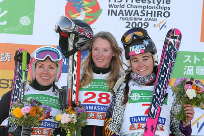 INAWASHIRO, JAPAN Ð MARCH 02 : (FRANCE OUT) Ashleigh Mcivor of Canada takes the 1st place,Karin Huttary of Austria takes the 2nd place,Meryl Boulangeat of France takes the 3rd place during the FIS Freestyle World Championships Ð WomenÕs Ski Cross event on March 02, 2009 in Inawashiro, Japan (Photo by Agence Zoom/Getty Images).