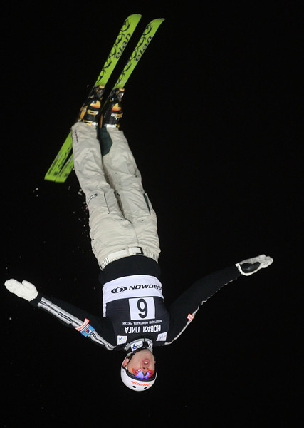 Vladimir Lebedev of Russia jumps in training for a FIS Freestyle World Cup aerials event at Moscow State University in Moscow, Thursday, Feb. 28, 2008.<br /> Photo by Mike Ridewood/FIS