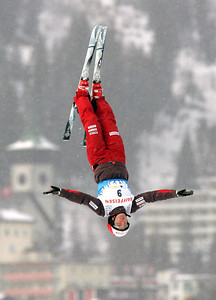 Evelyne Leu of Switzerand jumps out over Davos, Switzerland during aerials training for a FIS freestyle World Cup, Wednesday, Mar. 5, 2008. Photo by Mike Ridewood/FIS