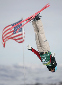 Veronika Bauer of Canada passes the American flag near the jumps during aerials training for a FIS freetyle World Cup at Deer Valley Resort in Park City, Utah, Thursday, Jan.  31, 2008  Photo by Mike Ridewood/CFSA