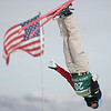 Veronika Bauer of Canada passes the American flag near the jumps during aerials training for a FIS freetyle World Cup at Deer Valley Resort in Park City, Utah, Thursday, Jan.  31, 2008 <br /> Photo by Mike Ridewood/CFSA