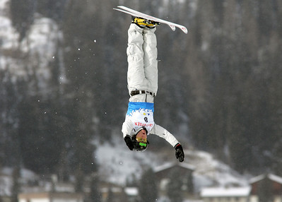 Elizabeth Gardner of Australia jumps out over Davos, Switzerland during aerials training for a FIS freestyle World Cup, Wednesday, Mar. 5, 2008. Photo by Mike Ridewood/FIS