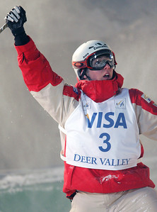 Alex Bilodeau of Canada celebrates his third place in dual moguls at a FIS freestyle World Cup at Deer Valley Resort in Park City, Utah, Saturday, Feb. 2, 2008.  Photo by Mike Ridewood/FIS