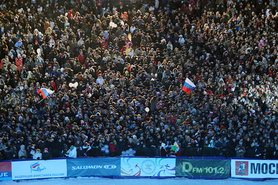 A crowd of 35,000 watches the action at a FIS Freestyle World Cup aerials event at Moscow State University in Moscow, Saturday, March 1, 2008. Photo by Mike Ridewood/FIS