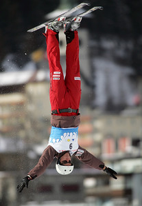 Thomas Lambert of Swizerand jumps out over Davos, Switzerland during aerials training for a FIS freestyle World Cup, Wednesday, Mar. 5, 2008. Photo by Mike Ridewood/FIS