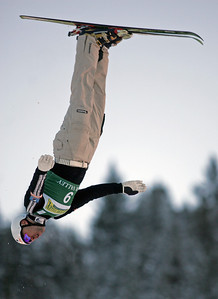 Vladimir Lebedev of Russia jumps to second place in aerials at a FIS freestyle World Cup at Deer Valley Resort in Park City, Utah, Friday, Feb. 1, 2008.   Photo by Mike Ridewood/FIS