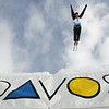 Dylan Ferguson of the United States jumps out over Davos, Switzerland during aerials training for a FIS freestyle World Cup, Wednesday, Mar. 5, 2008. Photo by Mike Ridewood/FIS