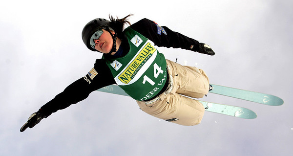 Deidra Dionne of Canada jumps in aerials training at a FIS freestyle World Cup at Deer Valley Resort in Park City, Utah, Wednesday, Jan.  30, 2008.   Photo by Mike Ridewood/FIS