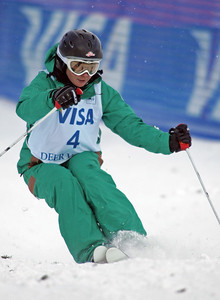 Margarita Marbler of Austria skis to third place in dual moguls at a FIS freestyle World Cup at Deer Valley Resort in Park City, Utah, Saturday, Feb. 2, 2008.  Photo by Mike Ridewood/FIS