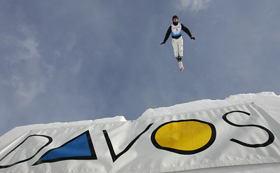 Dmitri Dashinski of Belaurus jumps out over Davos, Switzerland during aerials training for a FIS freestyle World Cup, Wednesday, Mar. 5, 2008. Photo by Mike Ridewood/FIS