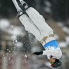 Lydia Lassila of Australia jumps to second place in the first round of jumping for a FIS freestyle aerials World Cup in Davos, Switzerland, Friday, Mar. 7, 2008. <br /> Photo by Mike Ridewood/FIS