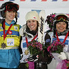 Women's podium in moguls at a freestyle FIS World Cup at Cypress Mountain in West Vancouver, Saturday, Feb. 7, 2009.  From left, Hannah Kearney of the United States, second, Jennifer Heil of Canada, first, and Margarita Marbler of Austria was third.  Photo by Mike Ridewood/FIS
