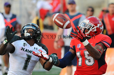 Fresno State's Davante Adams #15 makes the catch against #1 Mike Edwards CB November 3, 2012:  during the Fresno State Bulldogs game versus the Hawaii Warriors at Jim Sweeney Stadium, Fresno Ca.