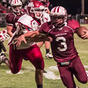 Eufaula Ironheads hosting the Spiro Bulldogs   October 3, 2014 - Eufaula, OK.<br /> <br /> Ironhead #3 Colin Walch. Bulldog #78 Blake Purdue