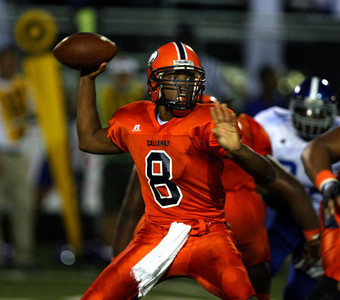 Callaway quarterback Carl Brice looks to pass.