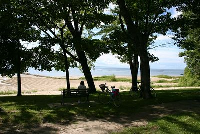 The trail ends just outside Fort Erie at a small park and beach.  From there, one can ride beside the old Fort and connect with another bike path that goes all the way to Niagara Falls.